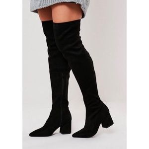 Black Mid Heel Faux Suede Over The Knee Boots